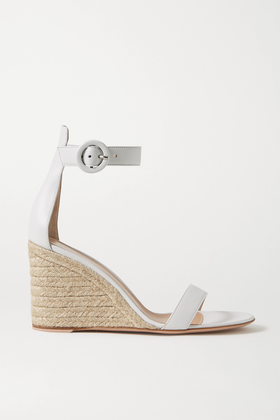 지안비토 로시 포르토피노 85 에스파드류 웻지 - 화이트 (한혜연 착용) Gianvito Rossi Portofino 85 leather espadrille wedge sandals