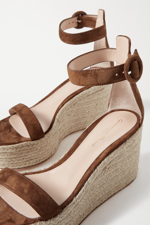 Gianvito Rossi Portofino 85 suede espadrille wedge sandals