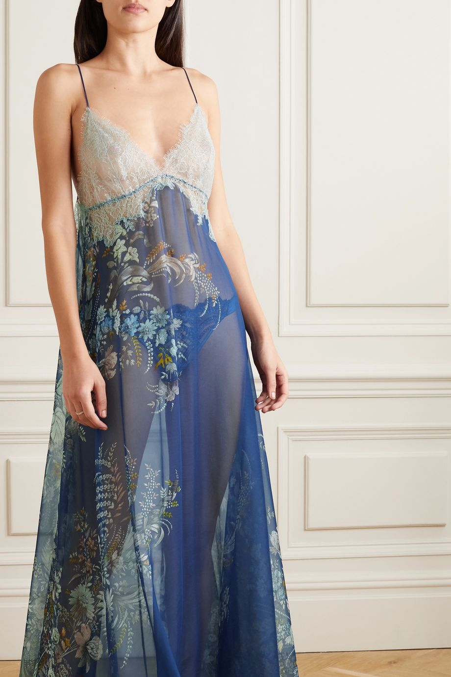 Carine Gilson Lace-trimmed floral-print silk-chiffon nightdress