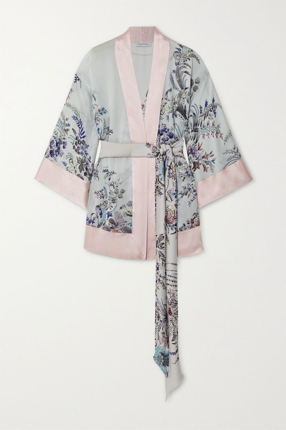 Carine Gilson Belted floral-print silk-satin robe