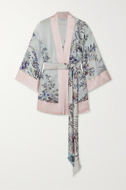 Carine Gilson Belted floral-print silk-satin robe