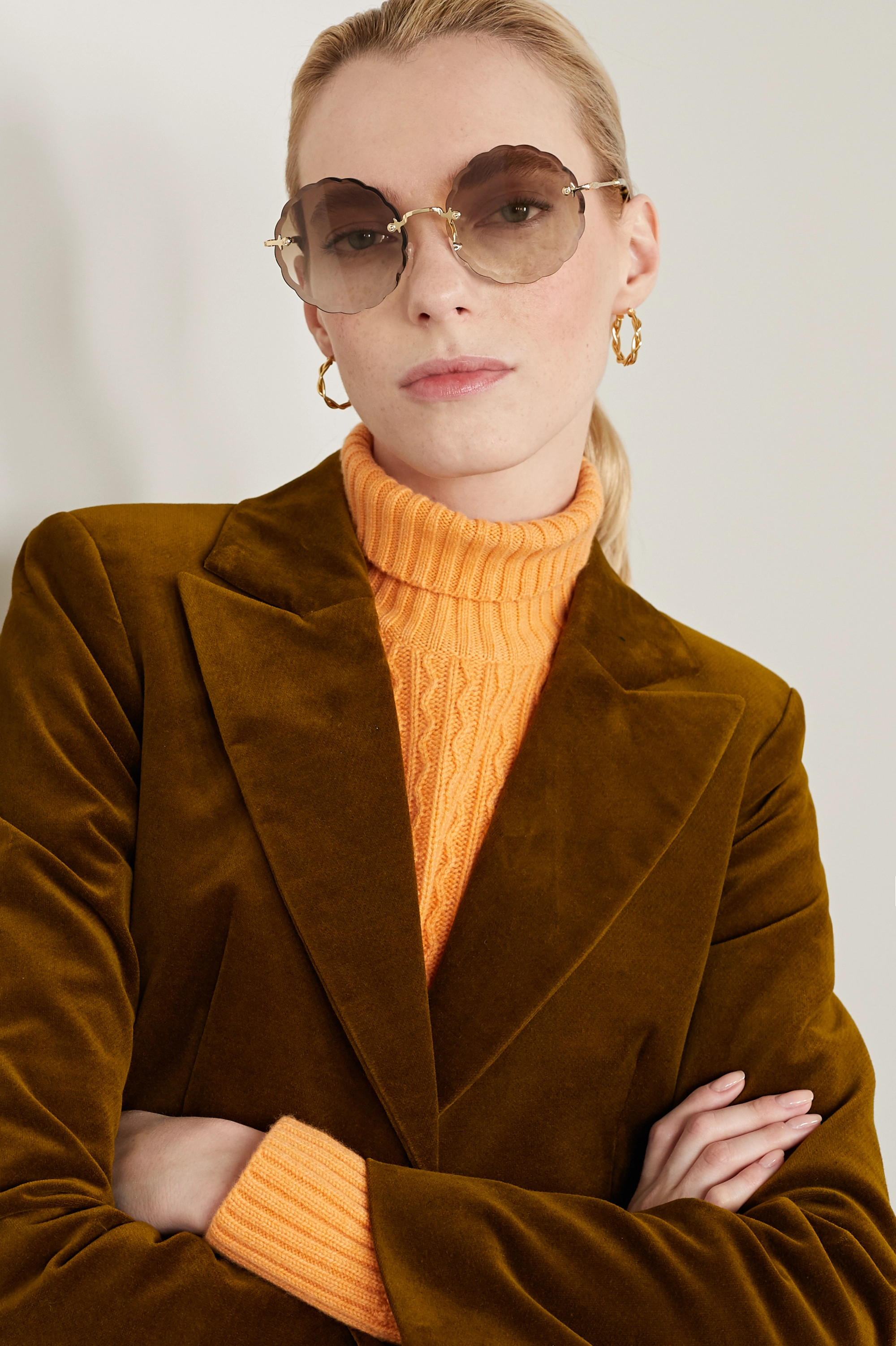 Chloé Rosie round-frame gold-tone and tortoiseshell acetate sunglasses