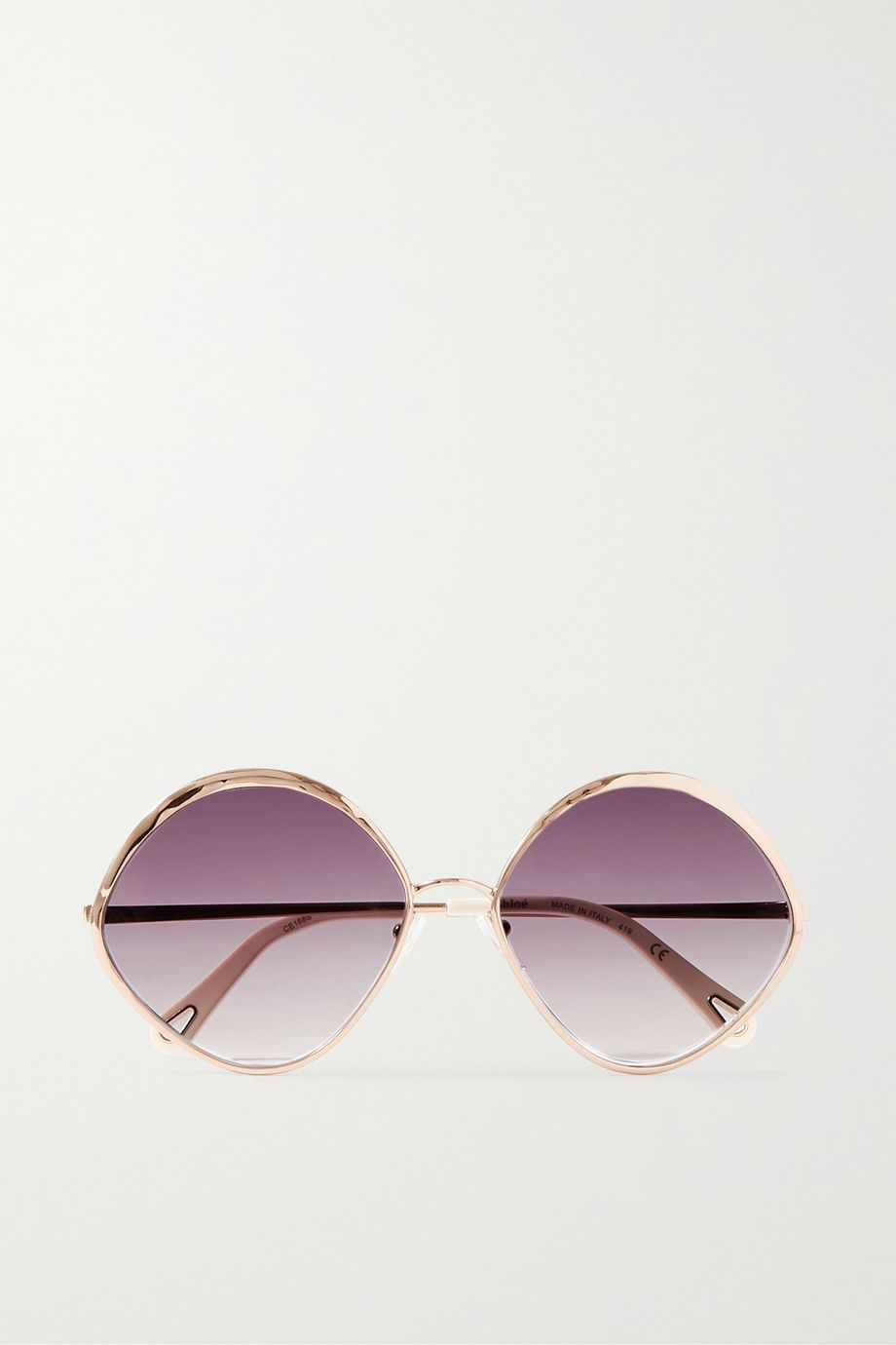 Chloé Dani round-frame rose gold-tone and acetate sunglasses