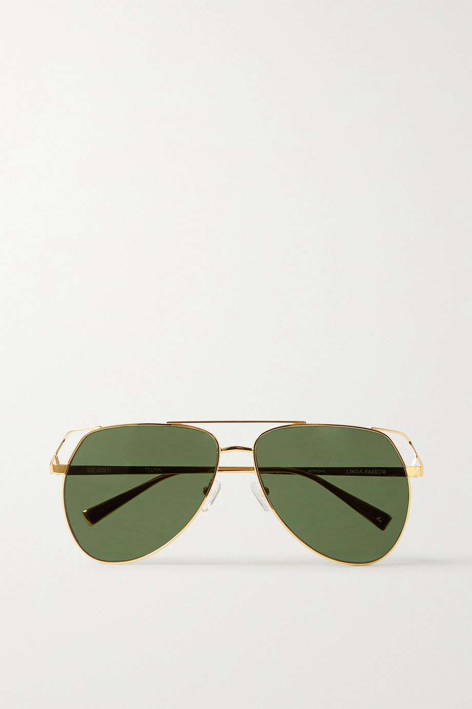 The Attico + Linda Farrow Telma aviator-style gold-tone sunglasses