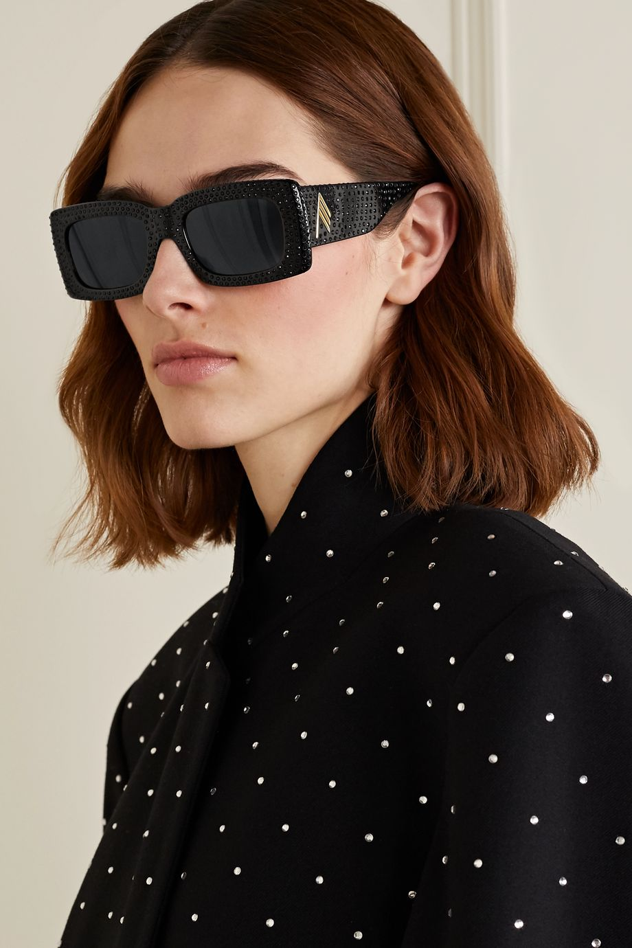 The Attico + Linda Farrow Stella crystal-embellished square-frame acetate sunglasses