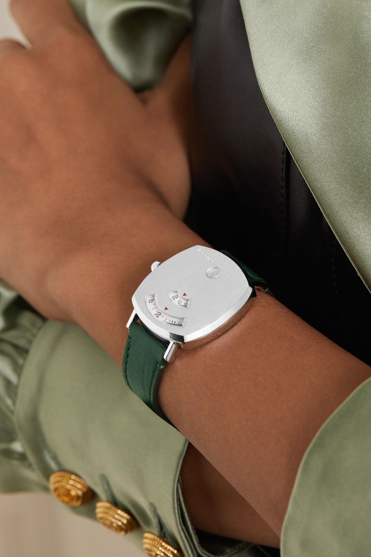 Gucci Grip 35 毫米精钢腕表(皮革表带)