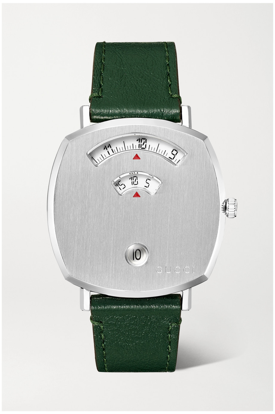 Gucci Grip 35mm stainless steel and leather watch