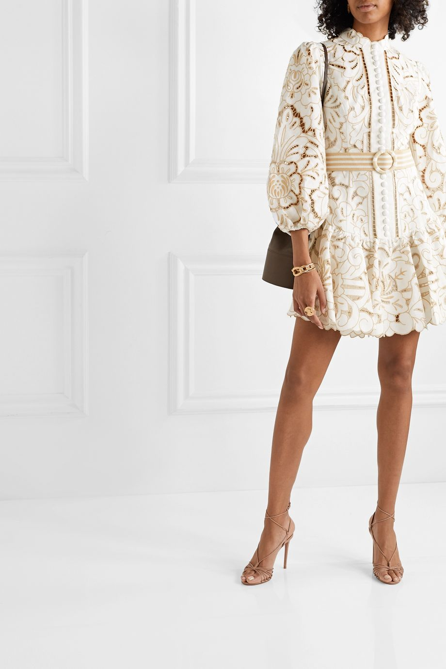 Zimmermann Edie belted linen and cotton-blend guipure lace mini dress
