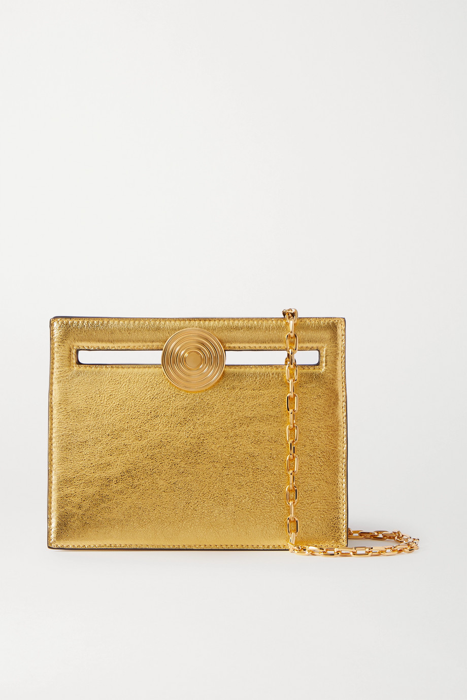 Bienen-Davis Max mini metallic leather clutch