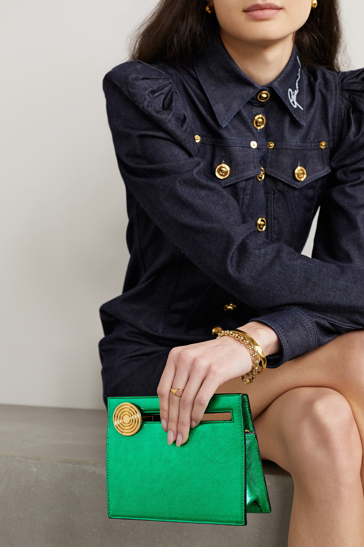 Bienen-Davis Max mini metallic leather clutch