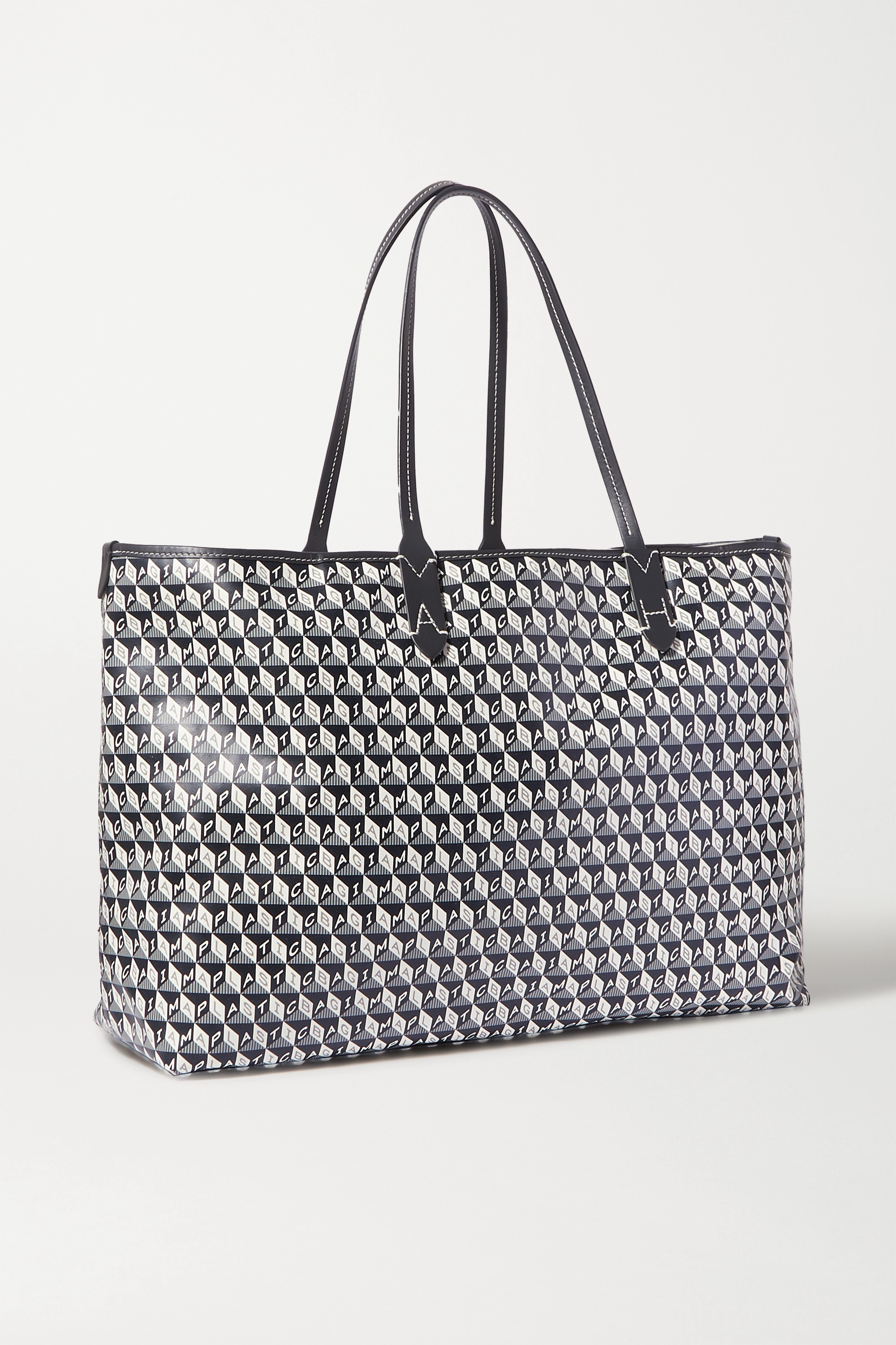 Anya Hindmarch + NET SUSTAIN I Am A Plastic Bag large leather-trimmed printed coated-canvas tote