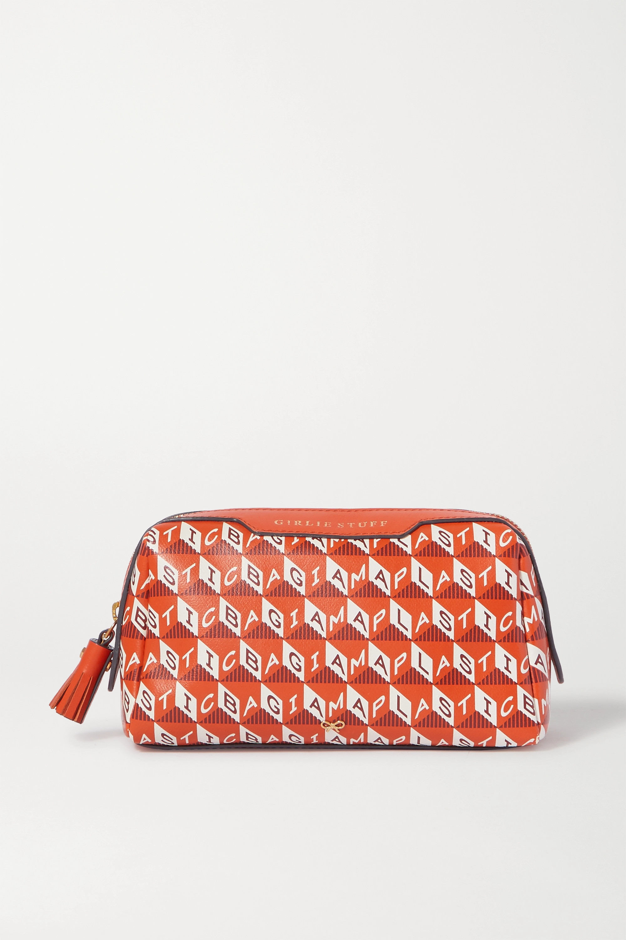 Anya Hindmarch + NET SUSTAIN Girlie Stuff leather-trimmed printed coated-canvas cosmetics case