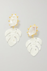Saba gold-plated, pearl and resin earrings