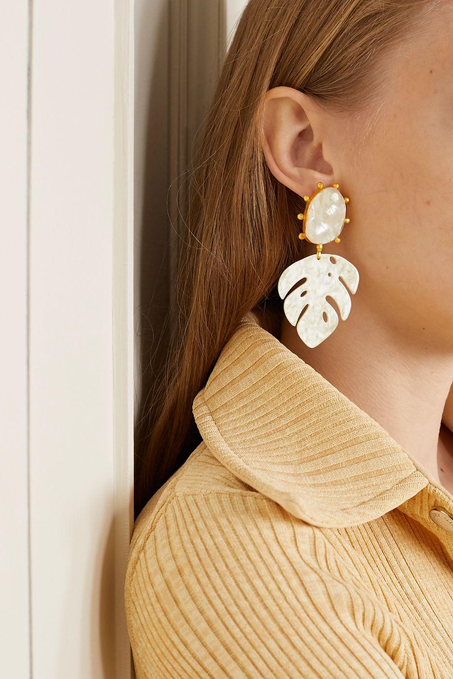 Peet Dullaert Saba gold-plated, pearl and resin earrings