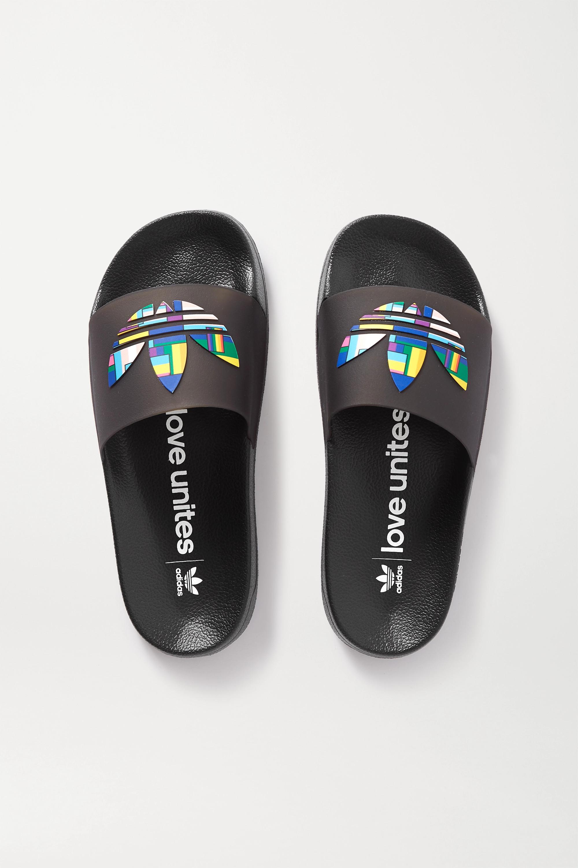Black Adilette Lite Pride rubber slides