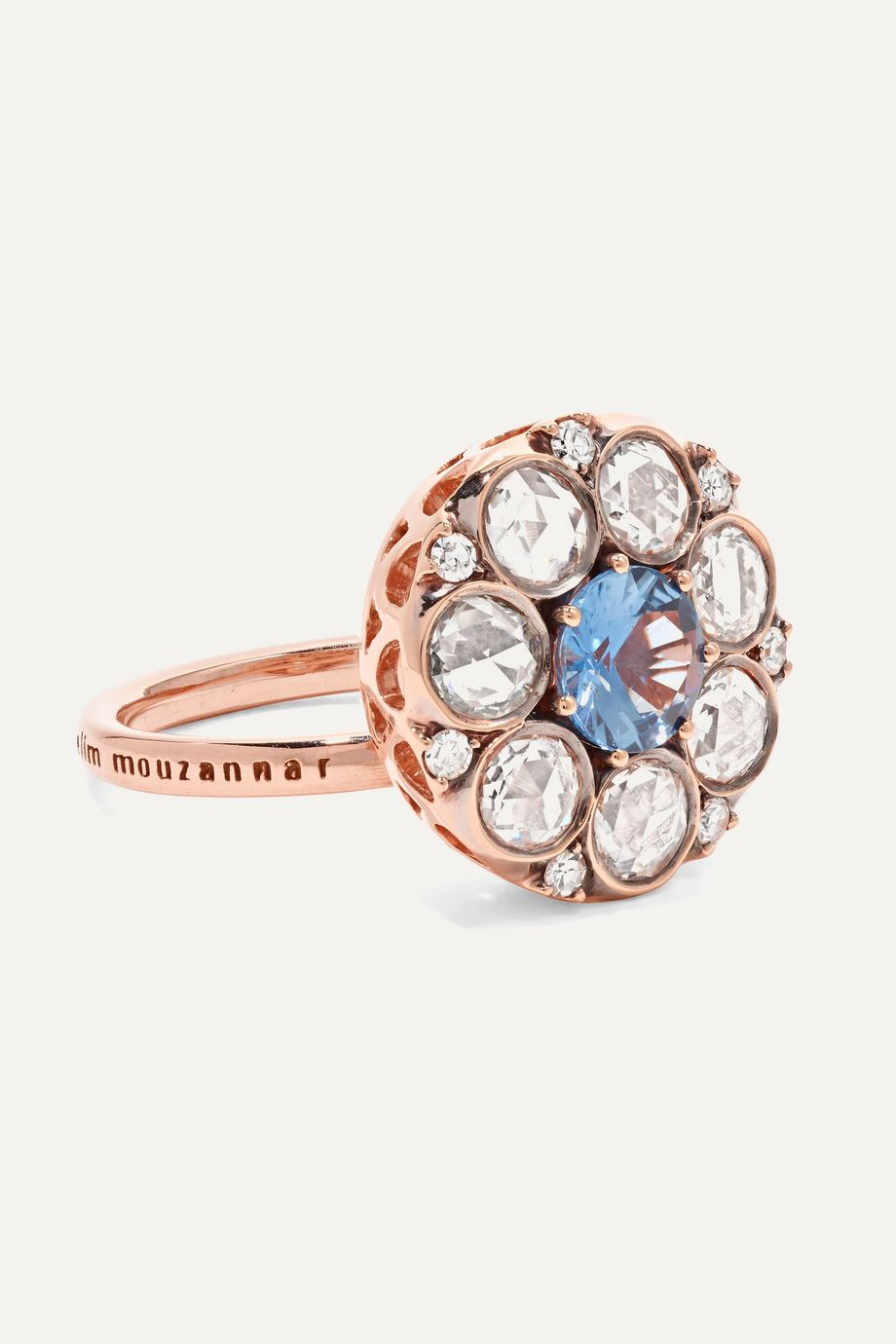 Selim Mouzannar Beirut 18-karat rose gold, diamond and sapphire ring