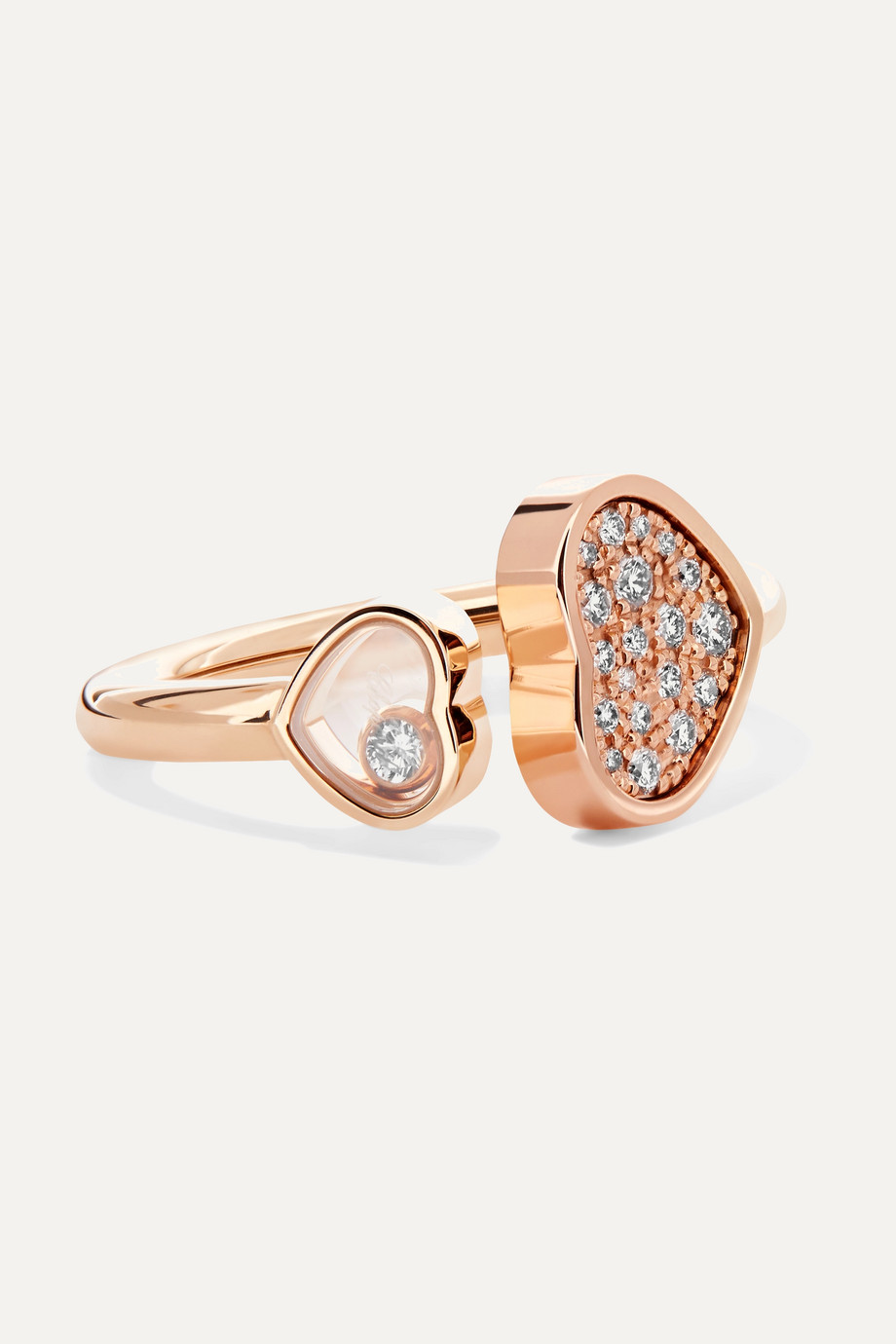 Chopard Bague en or rose 18 carats et diamants Happy Hearts