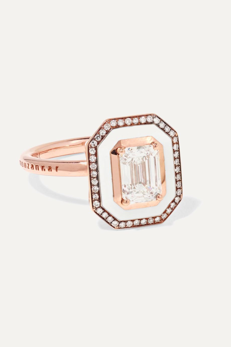 Selim Mouzannar Mina Ring aus 18 Karat Roségold mit Emaille und Diamanten