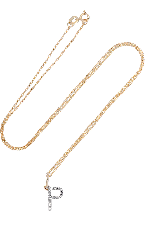 STONE AND STRAND Alphabet 14-karat gold diamond necklace