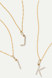 Alphabet 14-karat gold diamond necklace