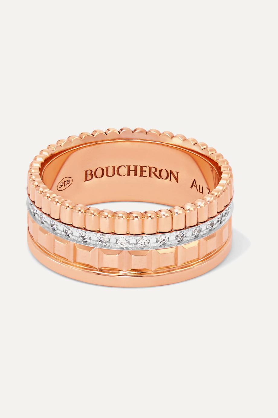 Boucheron Quatre Radiant Edition Small 18K 玫瑰金、18K 白金、钻石戒指