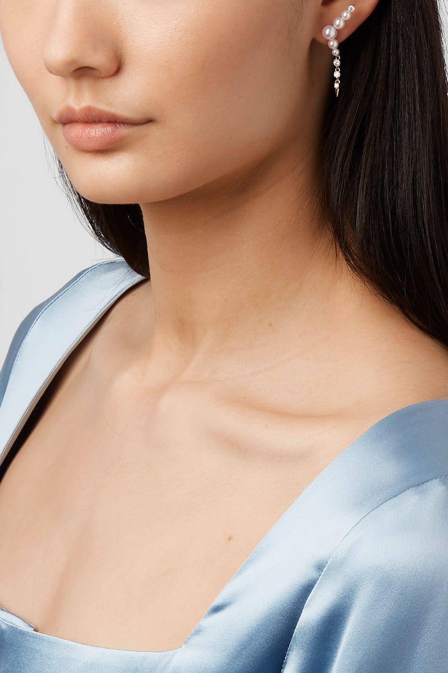 Jemma Wynne 18-karat gold, pearl and diamond earring