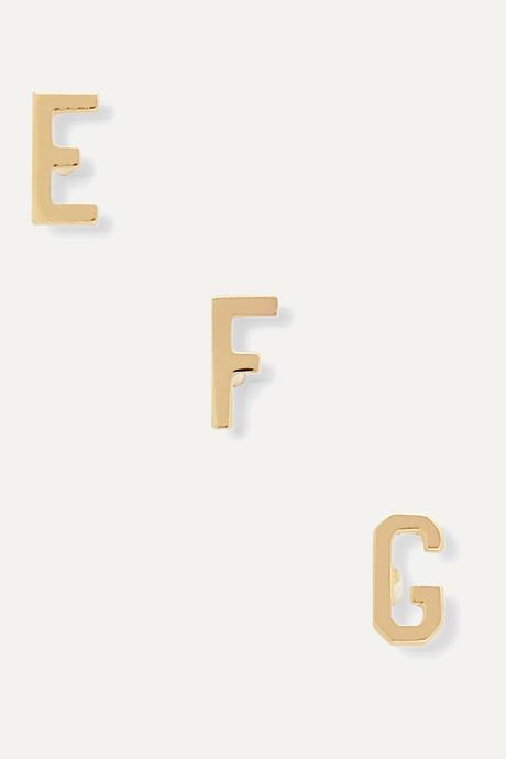Gold Alphabet 14-karat gold earring | STONE AND STRAND Qd68pn