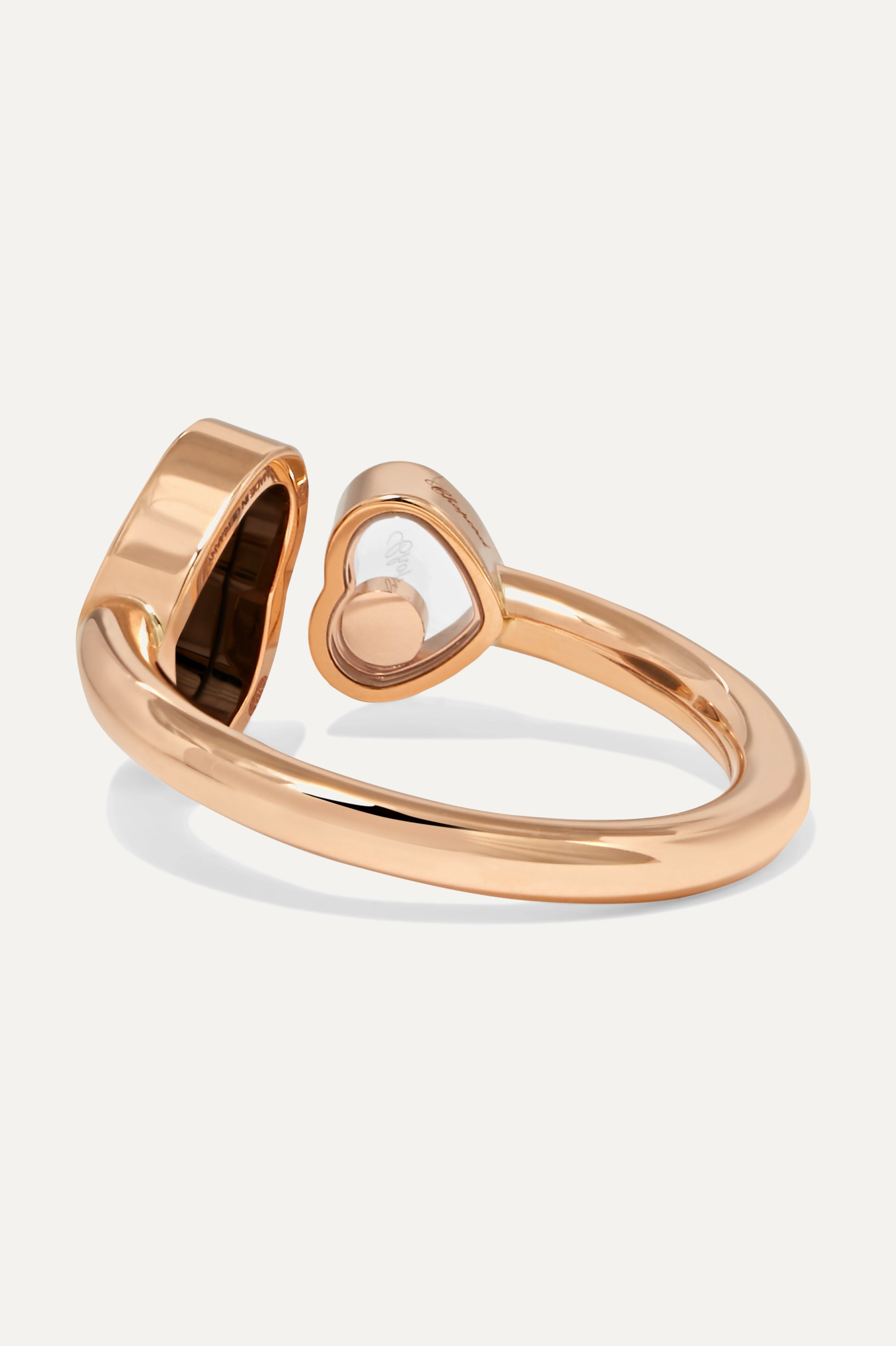 Chopard Happy Hearts 18-karat rose gold, diamond and onyx ring