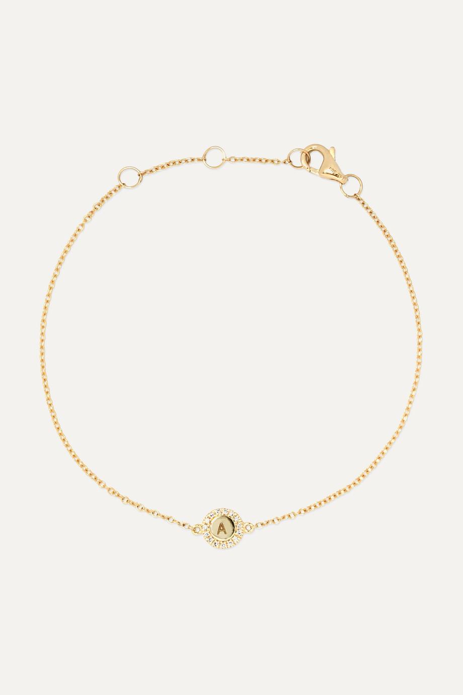 STONE AND STRAND Alphabet Armband aus 14 Karat Gold mit Diamanten