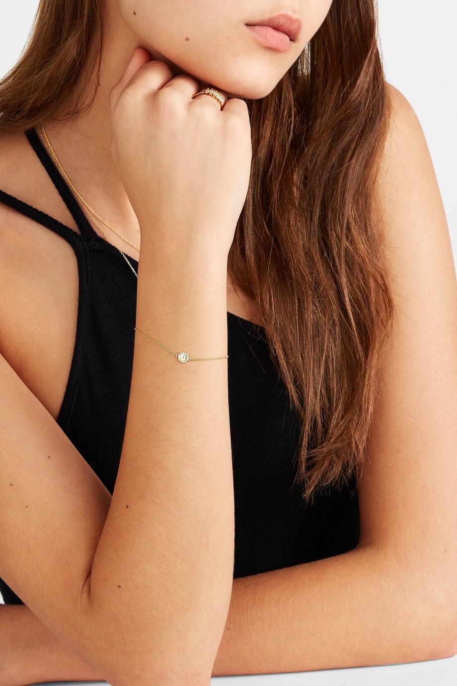 STONE AND STRAND Alphabet 14-karat gold diamond bracelet