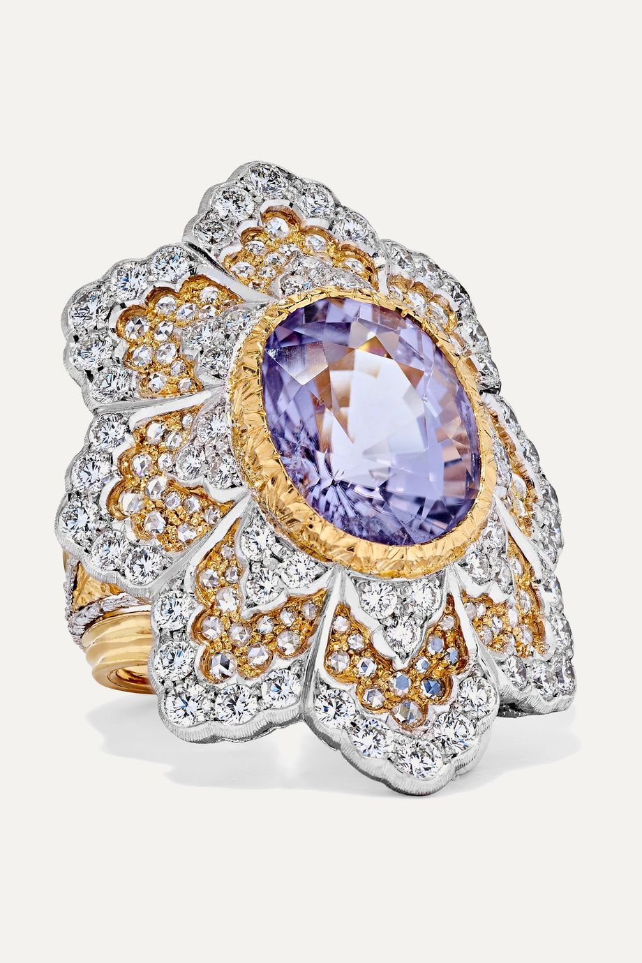 Buccellati 18-karat yellow and white gold diamond and tourmaline ring