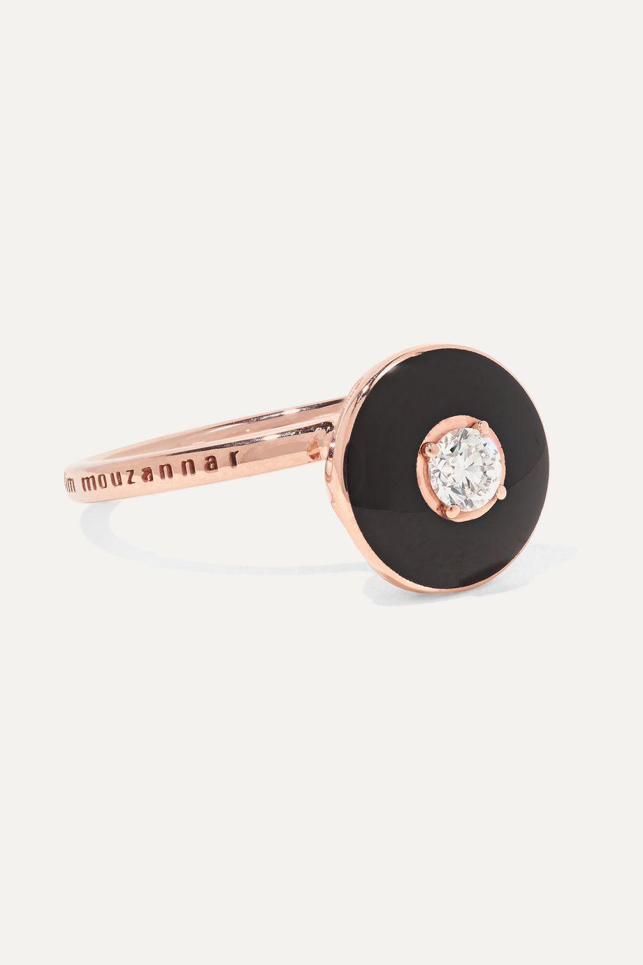 Selim Mouzannar Mina 18-karat rose gold, enamel and diamond ring