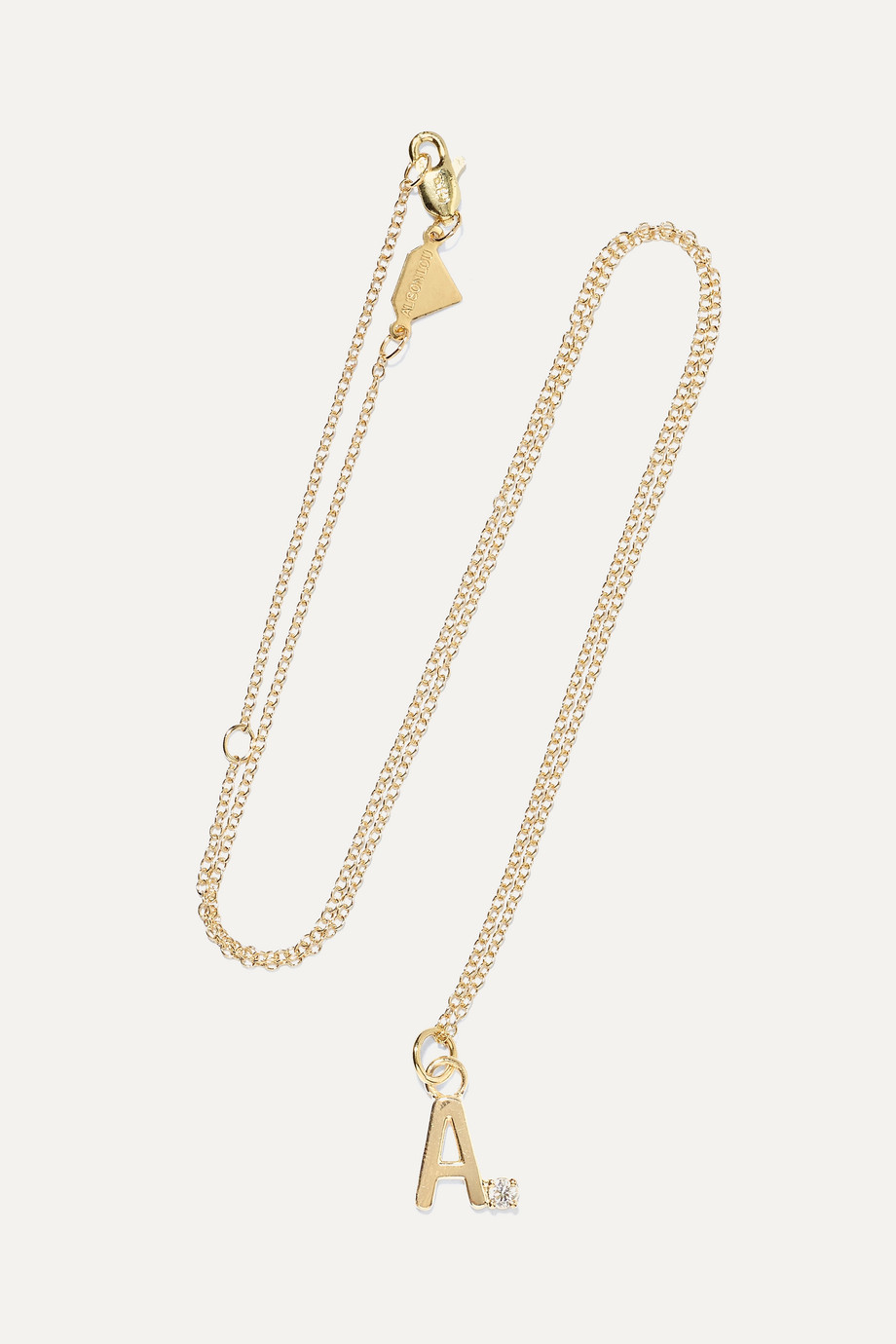 Alison Lou Letter 14-karat gold diamond necklace