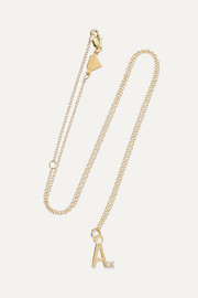 Letter 14-karat gold diamond necklace