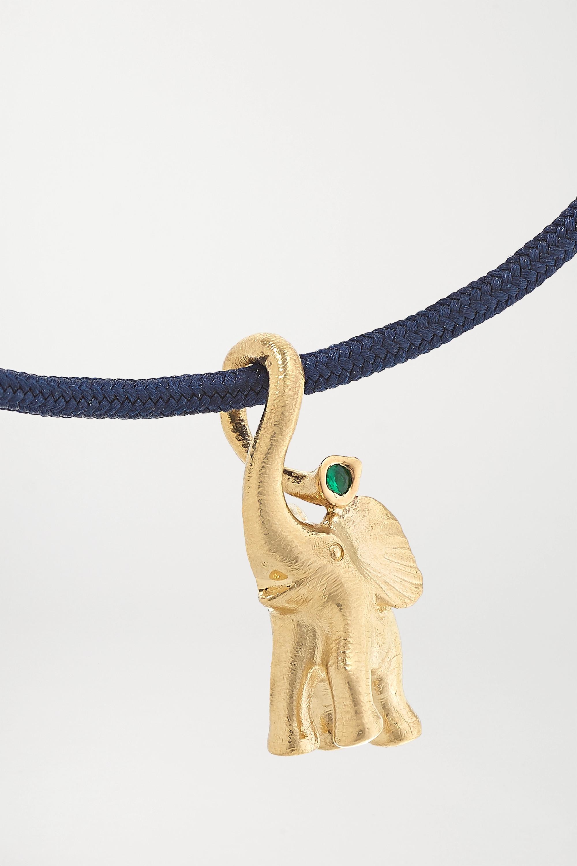 OLE LYNGGAARD COPENHAGEN + Space For Giants My Little World 18-karat gold, silk and emerald bracelet