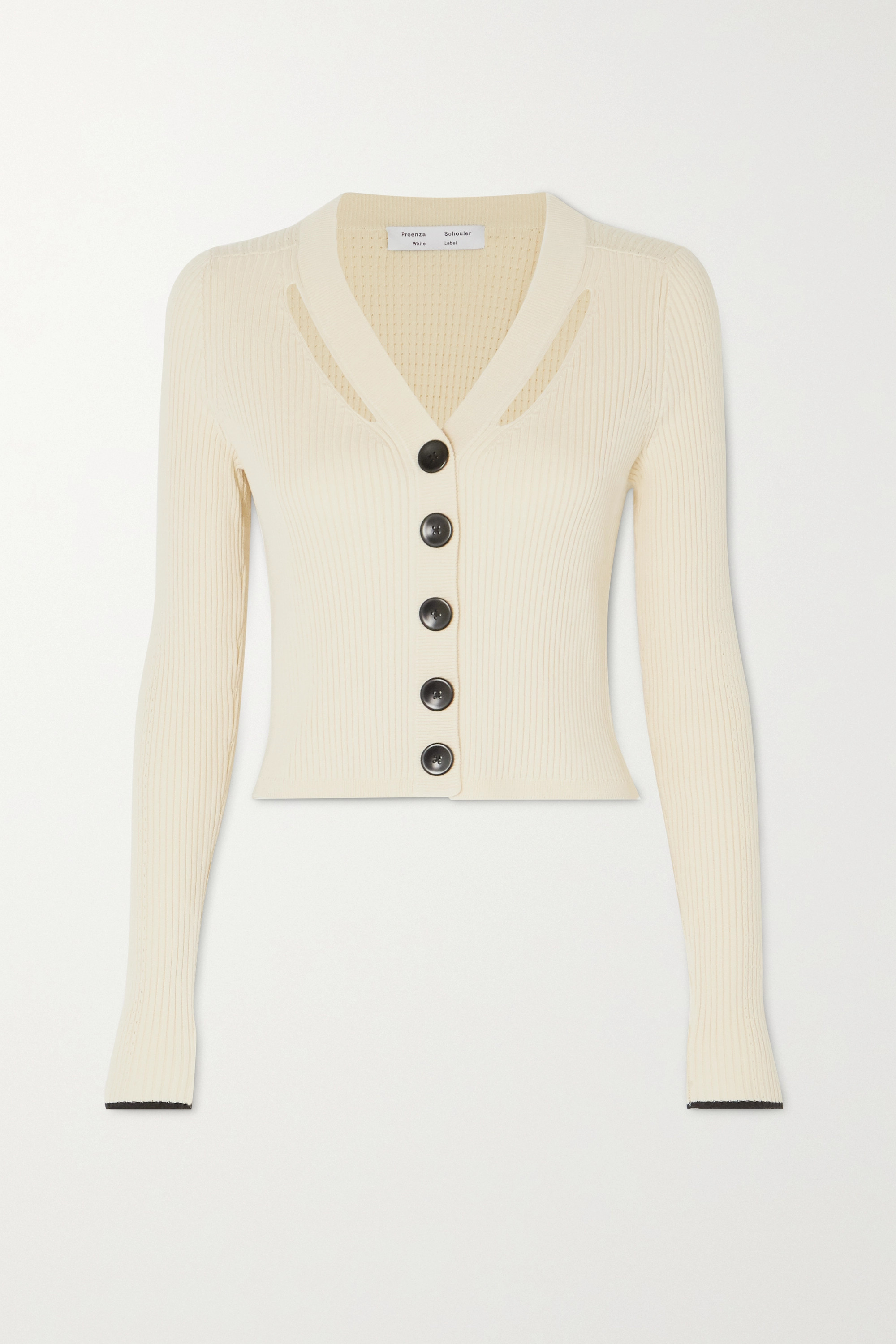 Proenza Schouler White Label Cutout ribbed silk and cotton-blend cardigan