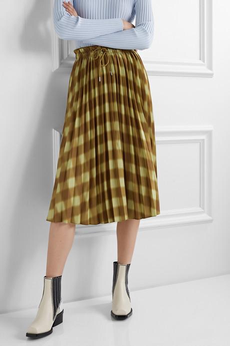 Printed pleated crepe midi skirt