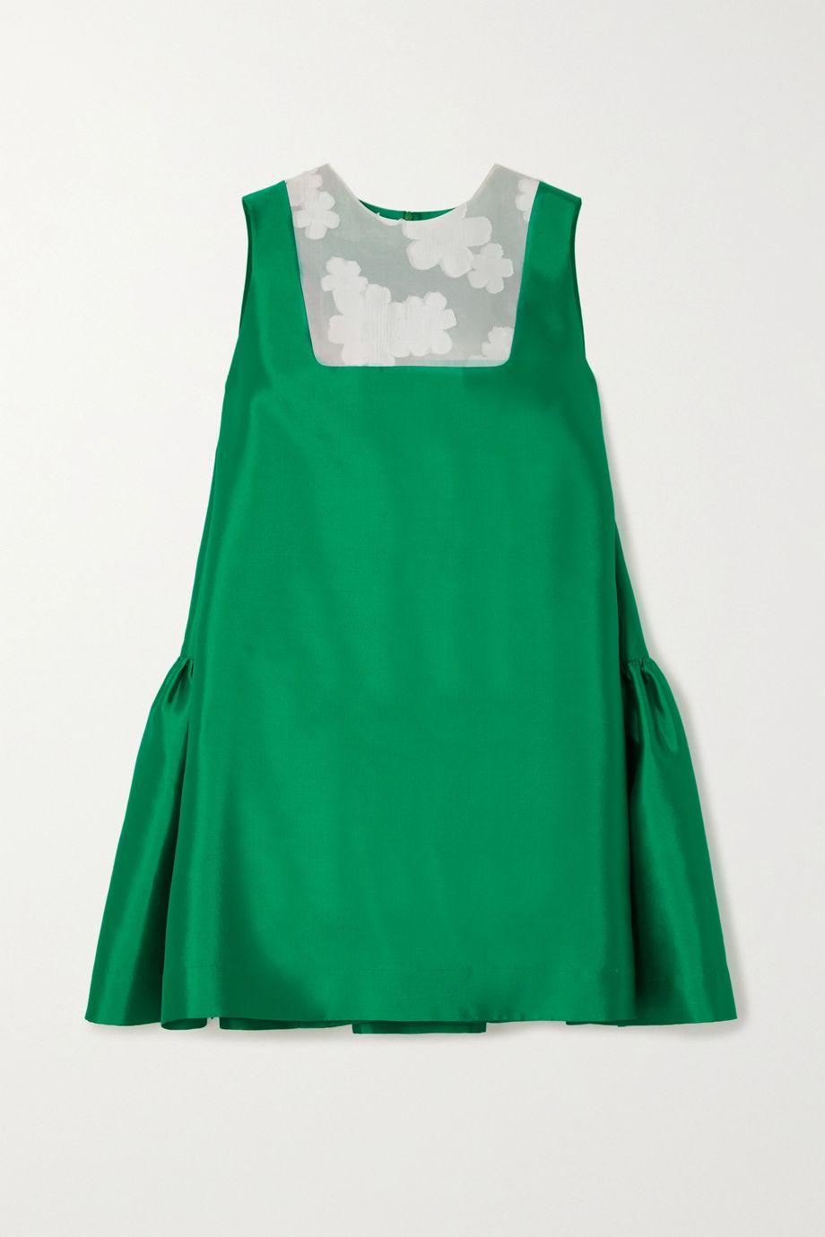 MINJUKIM Ruffled paneled silk-twill mini dress