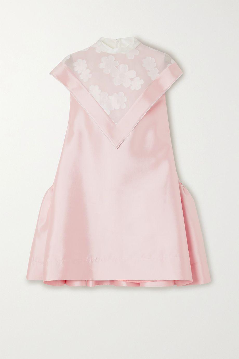 MINJUKIM Layered ruffled tulle-paneled silk-twill mini dress