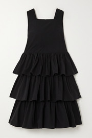Cancan ruffled taffeta midi dress