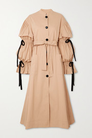 Tie-detailed pleated cotton-blend poplin coat