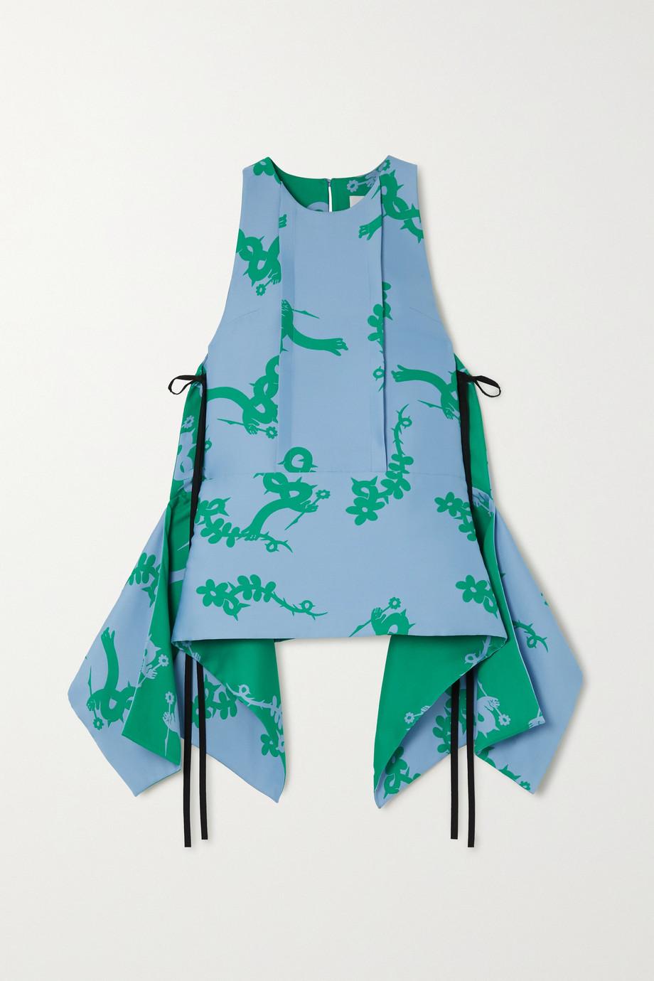 MINJUKIM Tie-detailed draped jacquard top