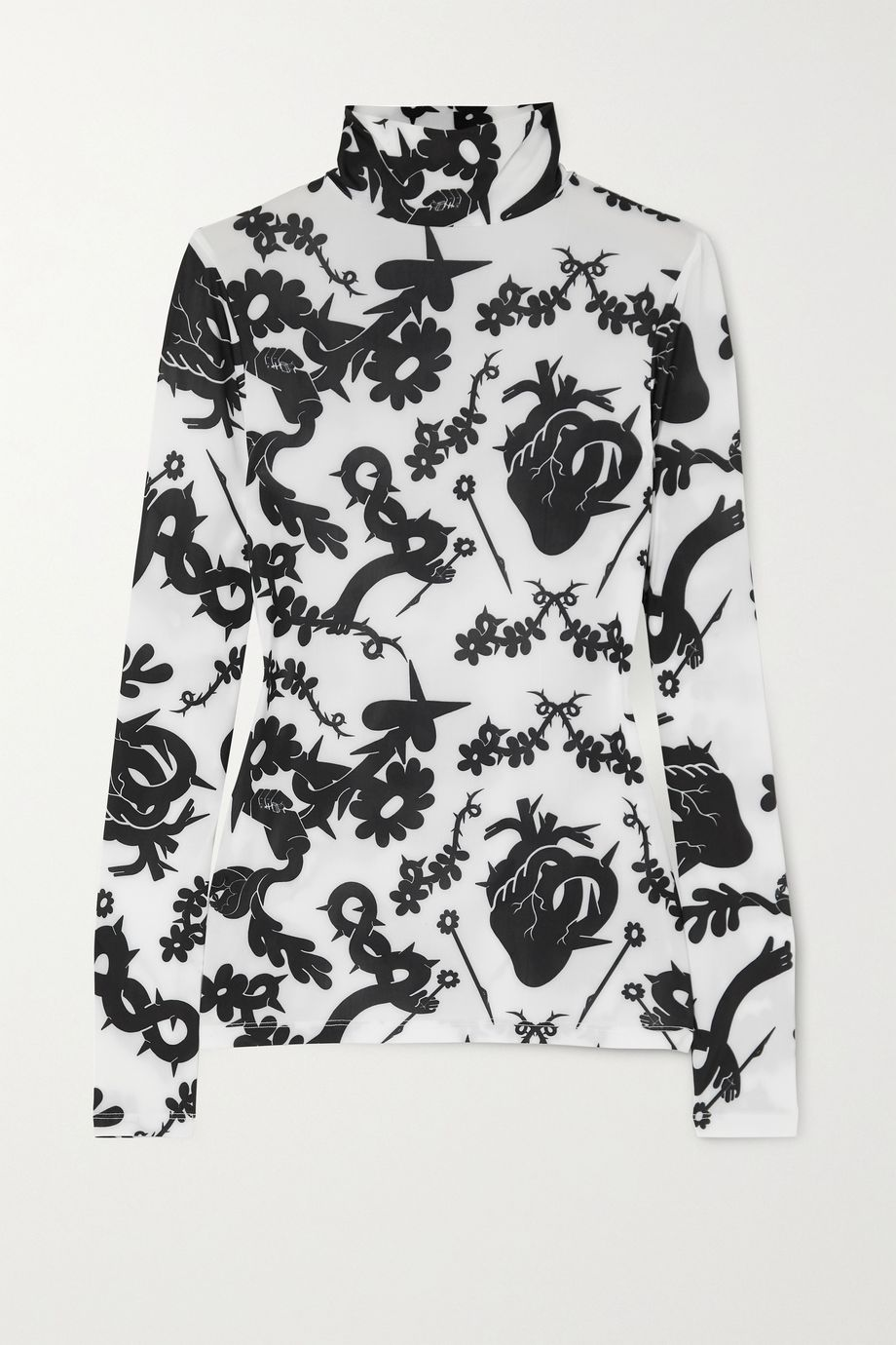 MINJUKIM Printed stretch-jersey turtleneck top
