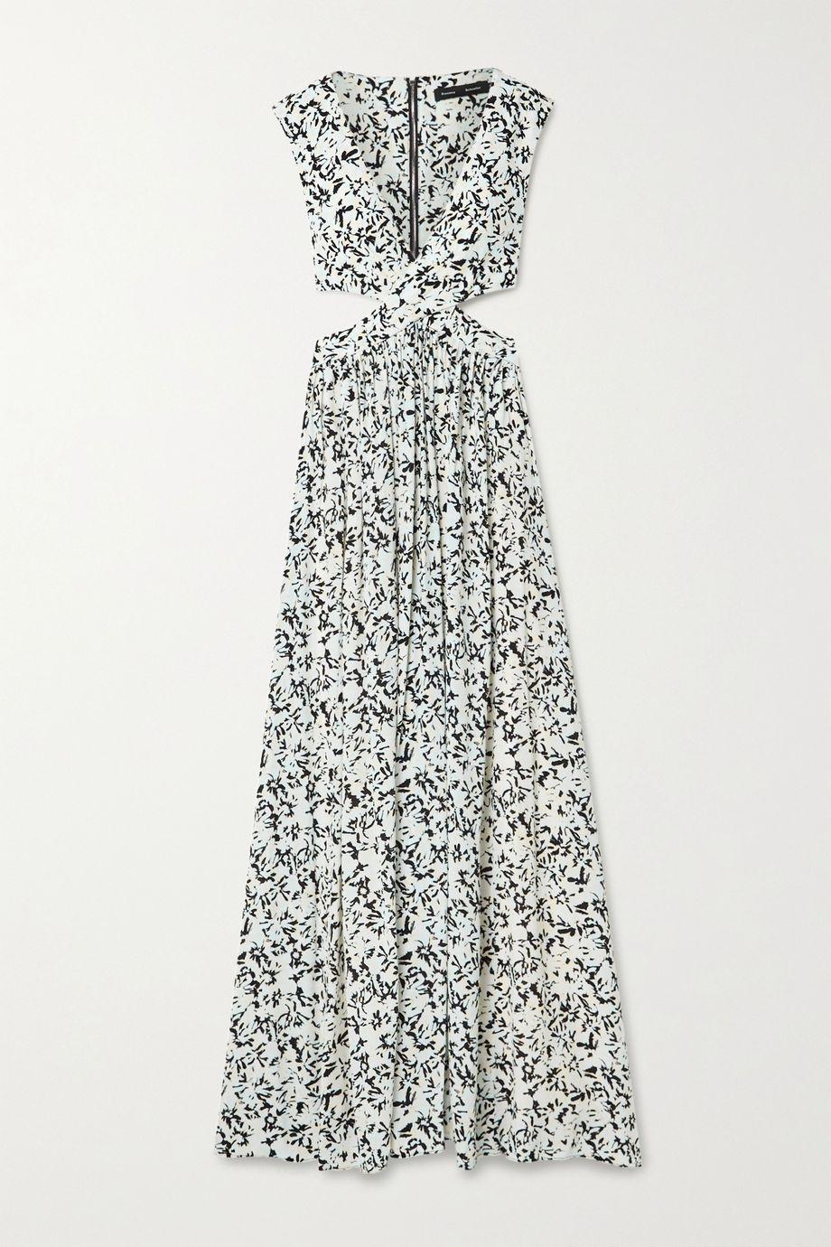 Proenza Schouler Cutout floral-print crepe de chine maxi dress