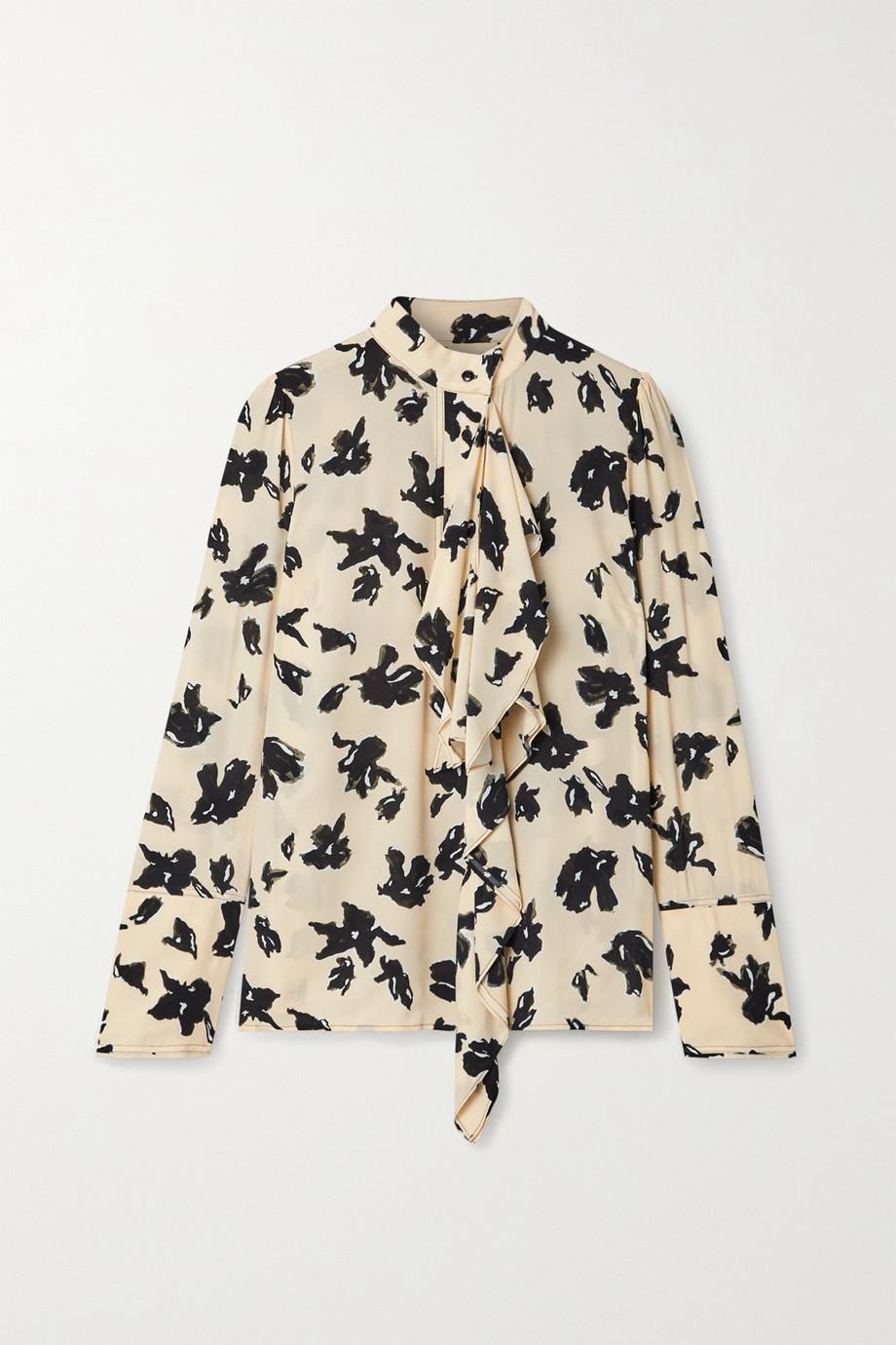 Proenza Schouler Draped floral-print crepe de chine blouse