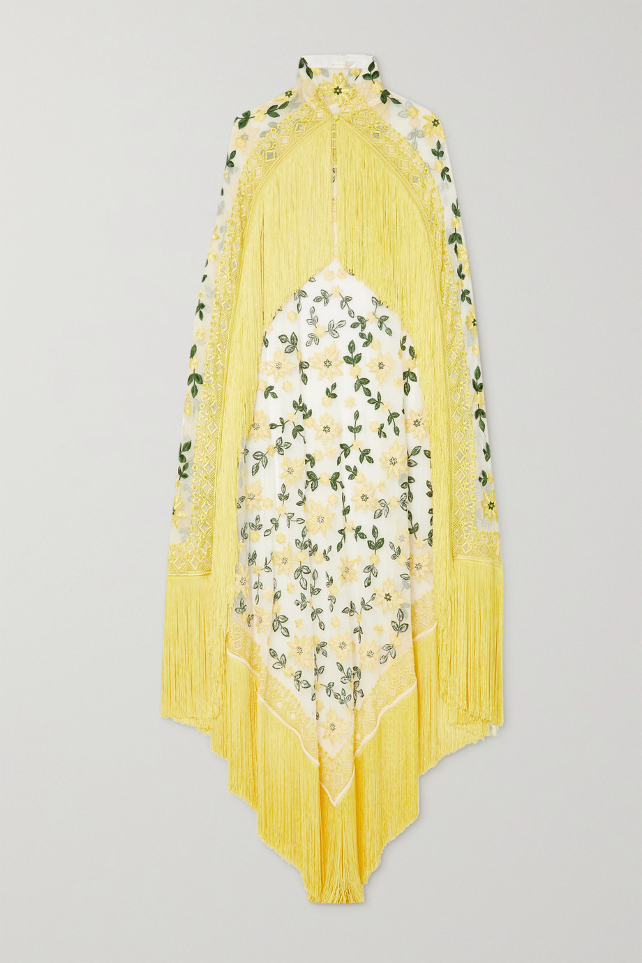 Naeem Khan Fringed embroidered tulle cape