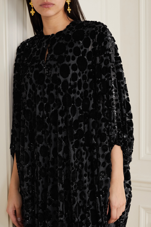 Reem Acra Draped devoré-chiffon midi dress
