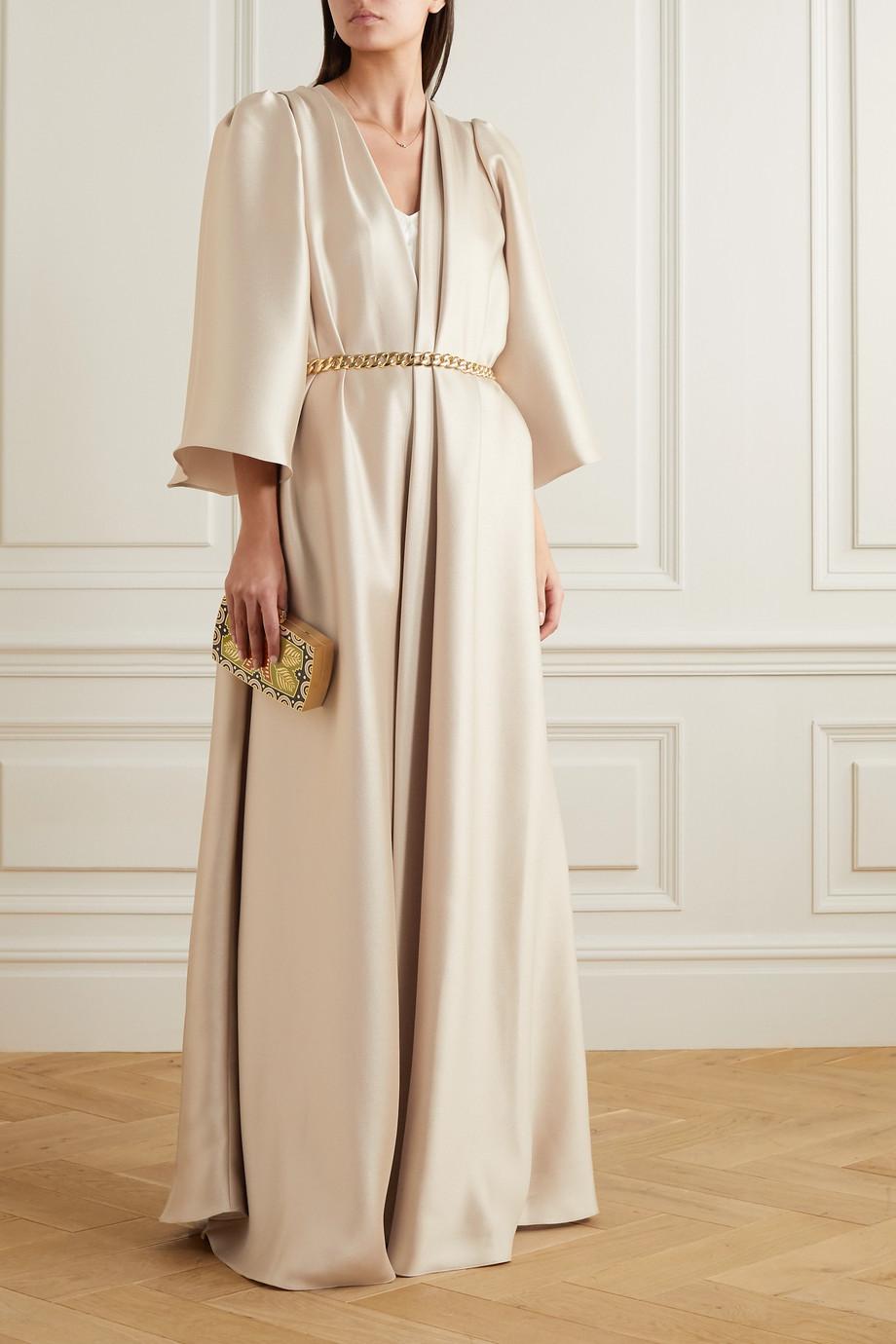 Reem Acra Draped mikado piqué coat