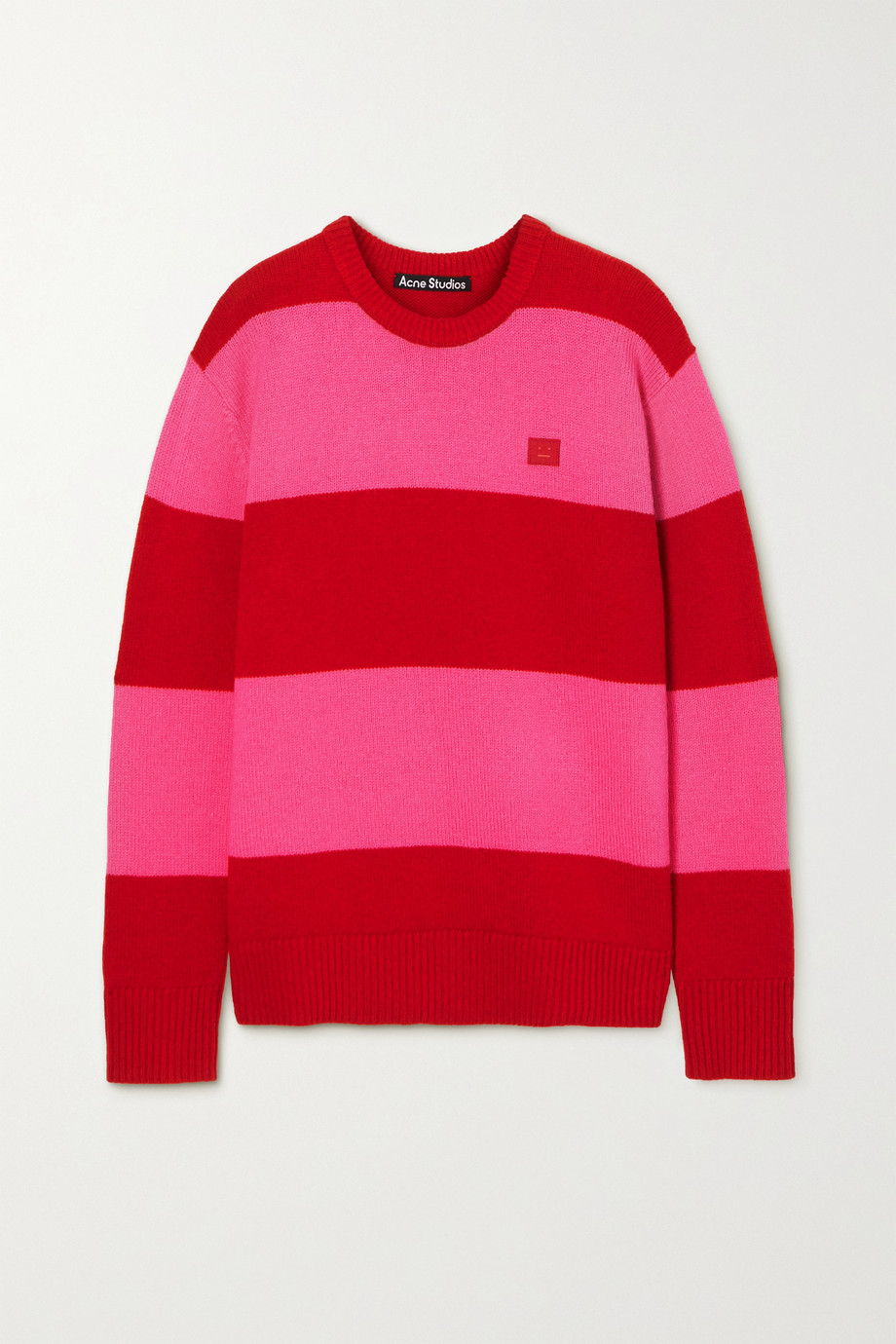 Acne Studios Gestreifter Oversized-Pullover aus Wolle mit Applikation