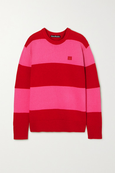 Acne Studios - Oversized Appliqued Striped Wool Sweater - Red
